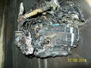 zdjęcie pożaru w wyniku źle dobranego zabezpieczenia elektrycznego